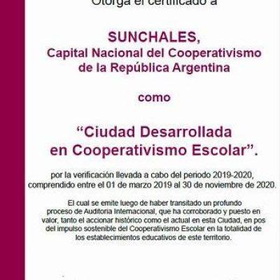 Certificado ACI a Sunchales